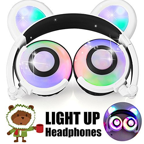 Kids Headphones Anime Bear Ear AMENON USB Rechargeable Wired Foldable Over Ear Gaming Headsets with LED for Girls,Kids,Boys,Compatible for iPad,iphone,Android,Computer,Birthday Festival Gift (02white)