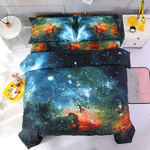 Ammybeddings Black and Blue Galaxy Bedding Sets Full Size 3D Mysterious Outer Space Green Cloud Duvet/Comforter Cover Starry Sky Digital Print Quilt Cover for Kids and Girls 4PCs