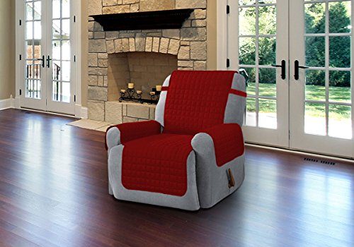 Quilted Microfiber Pet Dog Couch Sofa Furniture Protector Cover With Tucks & Strap (Burgundy, Recliner) (Slipcover Burgundy)