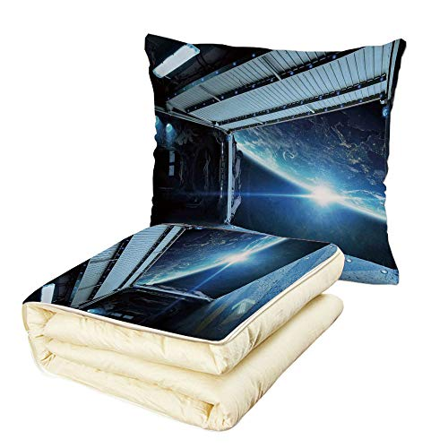 iPrint Quilt Dual-Use Pillow Outer Space Decor Interstellar Airlock Shuttle Runway Gate Journey to Stars Invasion View Multifunctional Air-Conditioning Quilt Blue Gray