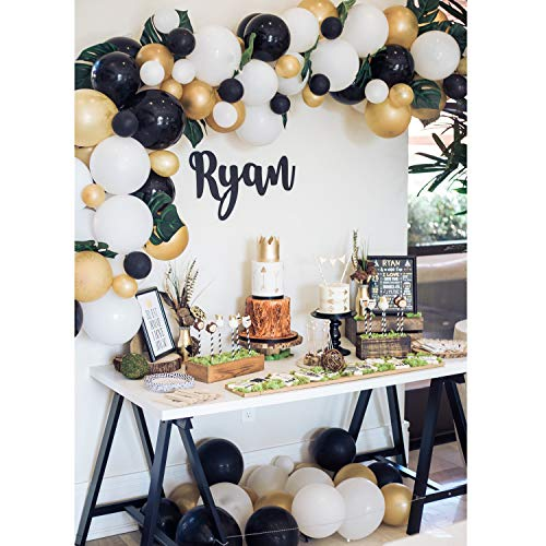 TOPLLON Gold Balloons Black Balloons 12 Inch 73 PCS, Matte Latex Balloons Garland Arch Kits for Baby ShowerBachelorette Party Wedding Party Decoration Birthday Party ()