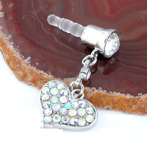 CJB Dust Plug / Earphone Jack Accessory Colorful Rhinestone Heart for iPhone 4 4s S4 5 All Device with 3.5mm Jack (US Seller)