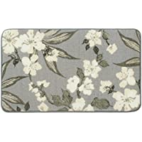 Laura Ashley Madeline High Definition Printed Memory Foam 27 in. x 45 in. Accent Rug in Dove Grey