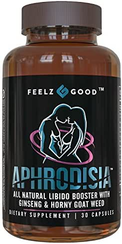 APHRODISIA - Men's & Women's Booster for Bedroom Vitality - Premium Horny Goat Weed Extract with Maca Tribulus & Ginseng Natural Energy, 400mg Epimedium with Icariins - Feelz Good