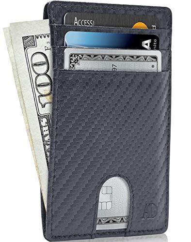 Slim Minimalist Wallets For Men & Women - Leather Front Pocket Thin Mens Wallet RFID Credit Card Holder Gifts For Men - Carbon Fiber Wallet