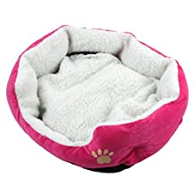 EverTrust(TM)Soft Pet Dog Nest Puppy Cat Bed Fleece Warm House Kennel Plush Mat 4 Colors,Rose