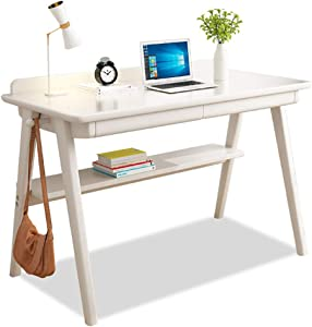 Desk Solid Wood Office Table with Drawer, Heavy Duty Office Desk Writing Study Desk Durable for Home Pc Laptop-c2 80x55cm(31.5x21.6in)