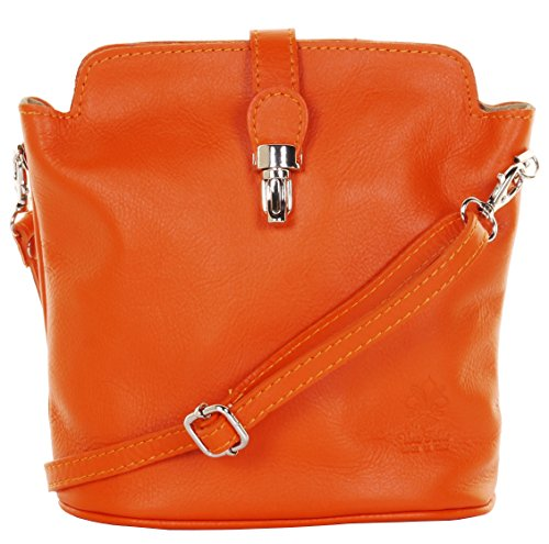 Primo Sacchi Italian Leather Hand Made Small Orange Cross Body or Shoulder Bag Handbag