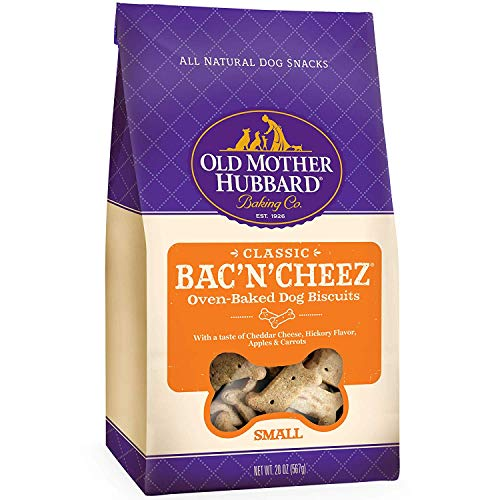 Old Mother Hubbard Crunchy Classic Natural Dog Treats, Bac'N'Cheez, Small Biscuits, 20-Ounce Bag/2PK
