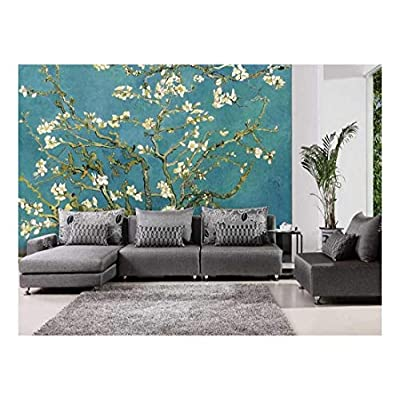 Unbelievable Style, Teal Almond Blossom by Vincent Van Gogh Wall Mural, Classic Design