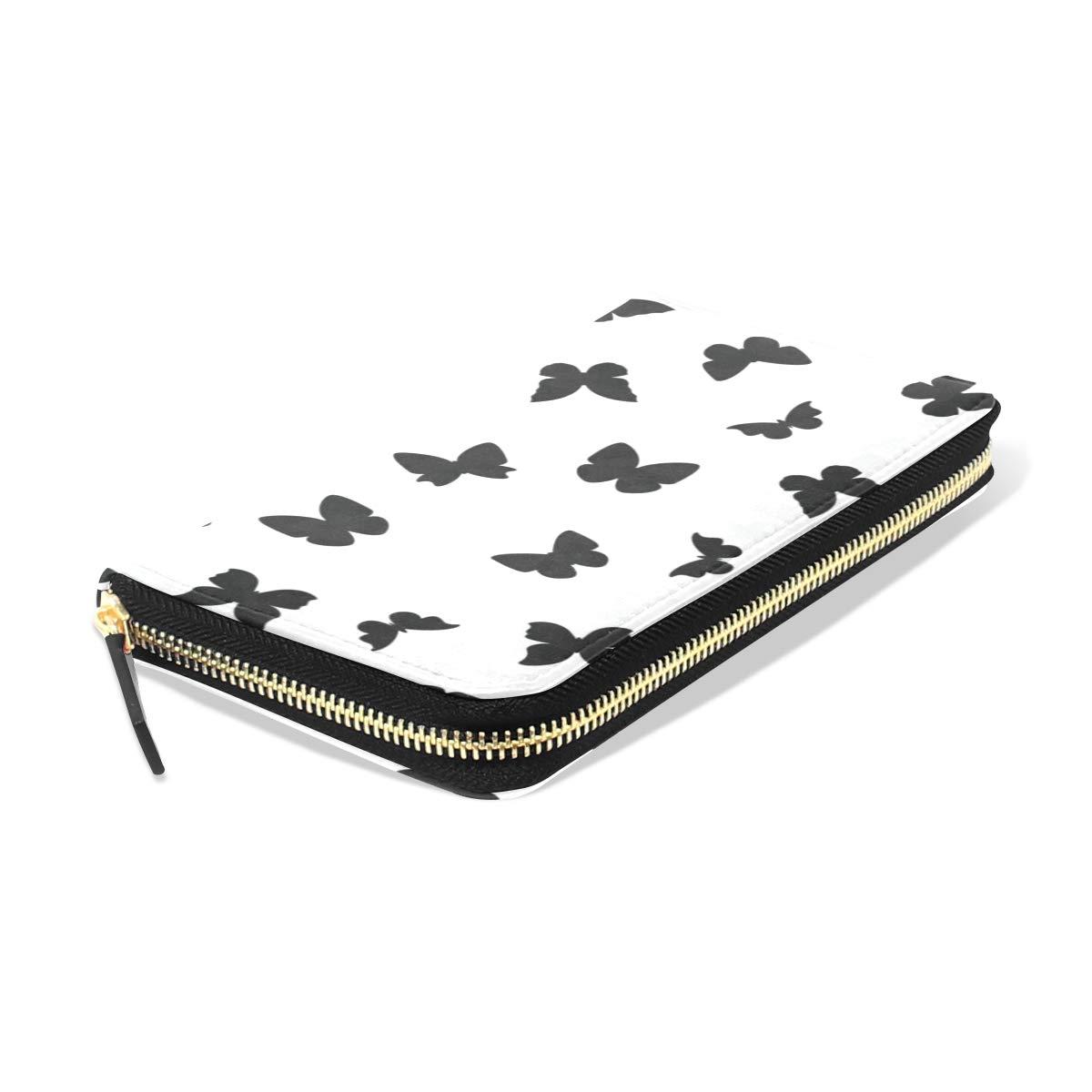 Womens Wallets Black Butterflies Leather Passport Wallet Coin Purse Girls Handbags