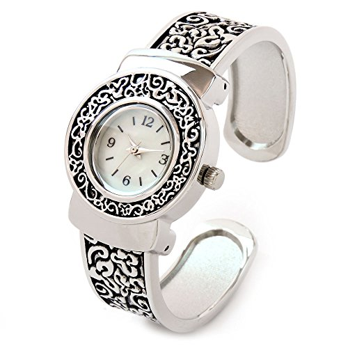 Silver Western Style Round Face Floral Decorated Women's Bangle Cuff Watch