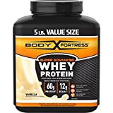 Body Fortress Super Whey Protein, Vanilla, 5 pounds Vanilla Protein Supplement Powder to Help Build Lean Muscle and Strength