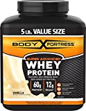 Cheap Body Fortress Super Advanced Whey Protein Powder, Great for Meal Replacement Shakes, Low Carb, Gluten Free, Vanilla, 5 lbs