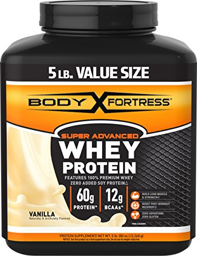 Body Fortress Super Advanced Whey Protein Powder, Gluten Free, Vanilla, 5 lbs (Protein Powder Without Caffeine)