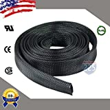 10 FT 1 1/2'' 38mm Black Expandable Wire Cable Braided Sleeving Sheathing Loom Tubing US