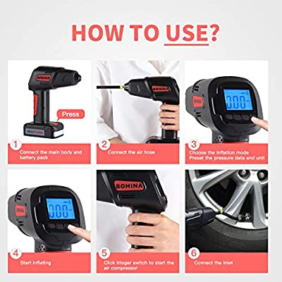 BOHINA Portable Air Compressor Pump Cordless Tire Inflator with Digital Display and LED Lights,Caution Light, Powerful Rechargeable Li-ion Battery Tire Inflator: Automotive