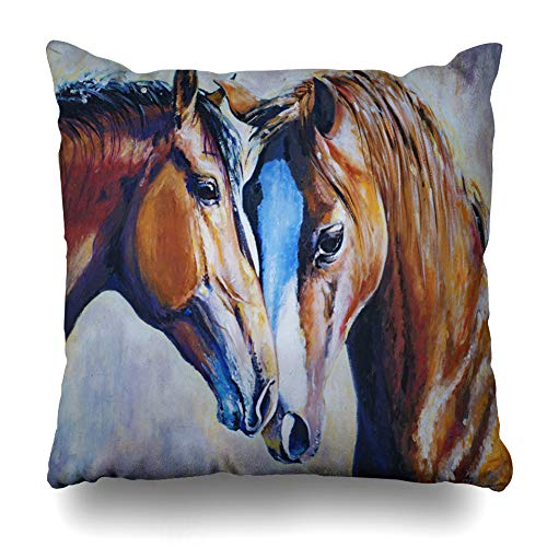 Ahawoso Throw Pillow Cover Couple Brown Love Two Horses Have Frienship Painting Clip Arabian Equestrian Wild Filly Home Decor Cushion Case Square Size 16