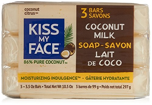 Kiss My Face Pure Coconut Milk Soap Bar with Coconut Oil, 3.5 oz,10.5 oz Total 3 Pack (Kiss My Face Soap)