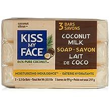 Kiss My Face Pure Coconut Milk Soap Bar, 3.5-Ounce, 3-Pack