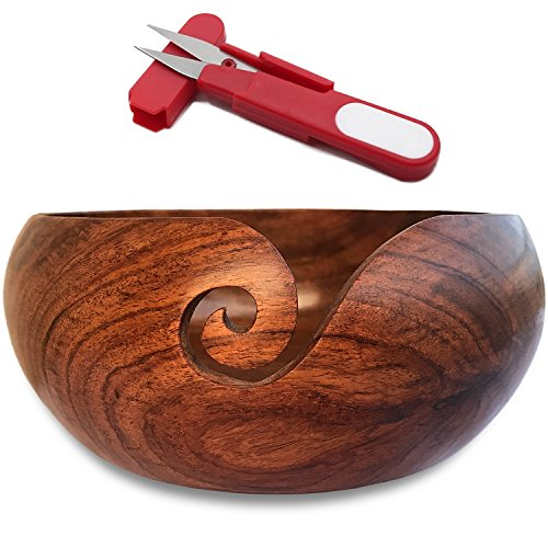 "Wooden Yarn Bowl Holder and Yarn Cutter Bundle 6""X3"" with Gift Pouch"