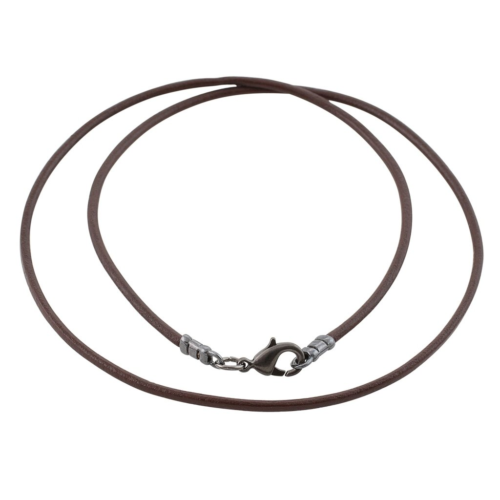 Gunmetal 1.8mm Fine Brown Leather Cord Necklace - 26 inches