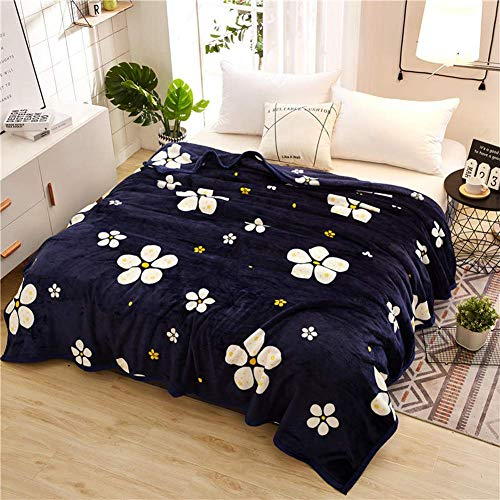 Smibra Floral Blankets Kids/Adults/Pets Cozy&Warm Blankets Beautiful Pattern Bedding Throw Plush Couch Blankets for All Seasons-004(W47 x L78 Inch, Blue2)