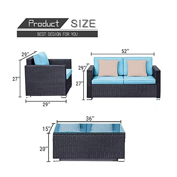 Oakmont Outdoor Patio Furniture 4-Piece Conversation Set All Weather Wicker with Sky Blue Cushion Black Coffee Table Backyard, Garden - 【WHAT YOU WILL GET】This 4-piece patio furniture set comes with 2 boxes, includes 2× single chairs, 1×loveseat, 1×table with tempered glass, 8×sky blue cushions, 2×pillows, 1× instruction, and all necessary hardware (assembly required). 【MATERIAL】The black wicker sectional sofa constructed from steel frame and PE rattan wicker. Use durable Olefin outdoor fabric, they have excellent weather resistance and corrosion resistance. 【FEATURES】Removable cushion covers with zippers are easy to rinse. Aluminum feet make the patio sofa more stable. - patio-furniture, patio, conversation-sets - 51mfB3jt4jL. SS570  -
