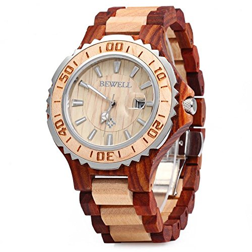 BEWELL ZS Wooden Watch Men Quartz with Luminous Hands 30M Water Resistance (RED SANDALWOOD AND MAPLE)