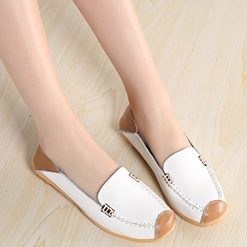 Shoes Walking Slip Slippers Loafers On Women's SCIEN White Flat C Driving Leather Casual Moccasins Iwq1n8PB