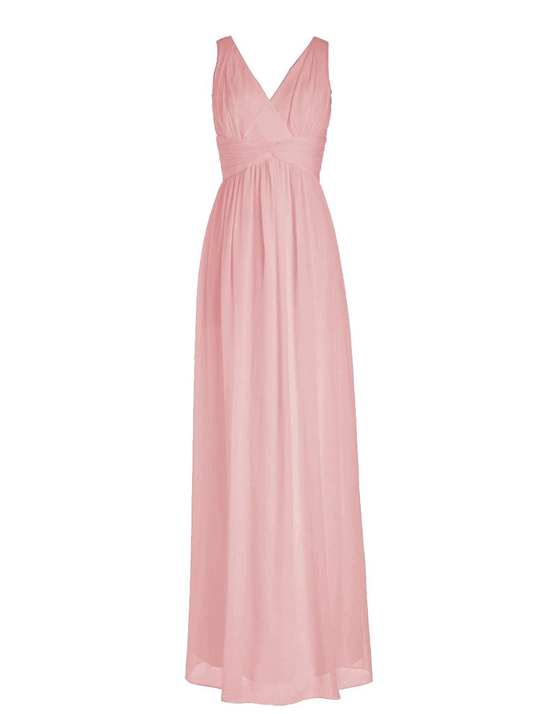 Dressystar Long Chiffon Bridesmaid Evening Party Dresses V Neck Slim Waist