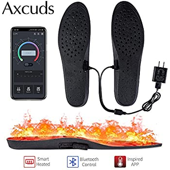 Axcuds Smart Electric Heated Shoes Insoles Foot Warmers Multiple Sizes APP Bluetooth Remote Control with Rechargeable Battery Powered for Hunting Fishing Hiking Camping Outdoor Sports (6-13)