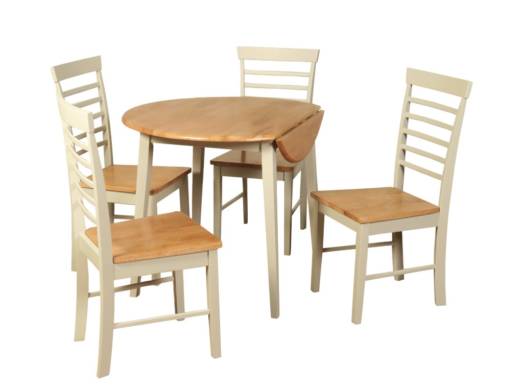 The One Oak Finish Solid Wood Drop Leaf Dining Set Hard Wood Extending Dining Table With 4 Chairs Dining Room Furniture Dining Room Sets