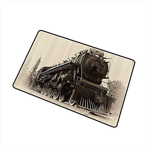Stylish Commercial Grade Entry pad Steam Engine Antique Northren Express Train Canada Railways Photography Freight Machine Print W35 xL47 Easy to Clean Carpet Black Grey ()