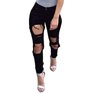 e059254cd8cd70 Zooka Summer Style Black Hole Ripped Jeans Women Jeggings Cool Denim High  Waist Pants Capris Female