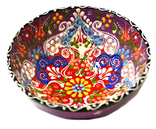 (Turkish Ceramics~Hand Painted Ceramic Bowl-5 inch-Purple)