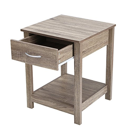"""Asense 23.88"""" Height Wood Night Stand Accent End Table with Drawer, Wooden Table (Grey)"""