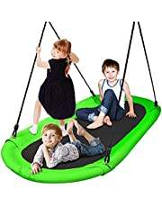 Outdoor Spinner Saucer Tree Swing - Hanging Tree Oval Shaped Flying Saucer w/ Rope Straps, Cushion Padded Metal Frame, Polyester Fabric Seat, for Kids & Adult - SereneLife SLSOVSWNG55GR (Green)