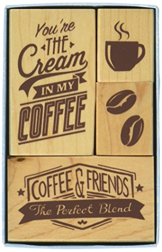 Inkadinkado Coffee Mounted Rubber Stamp Set, 4 pc ()