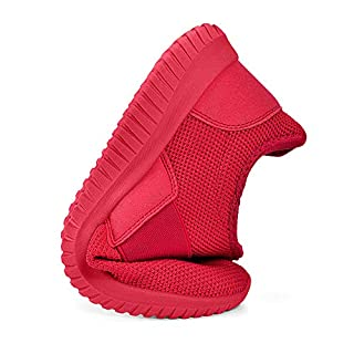 Troadlop Women Red Sneakers Slip on Red Tennis Shoes Laceless Casual Workout Shoes for Women Mesh Breathable Air Cushioneed Running Shoes 6.5 M US