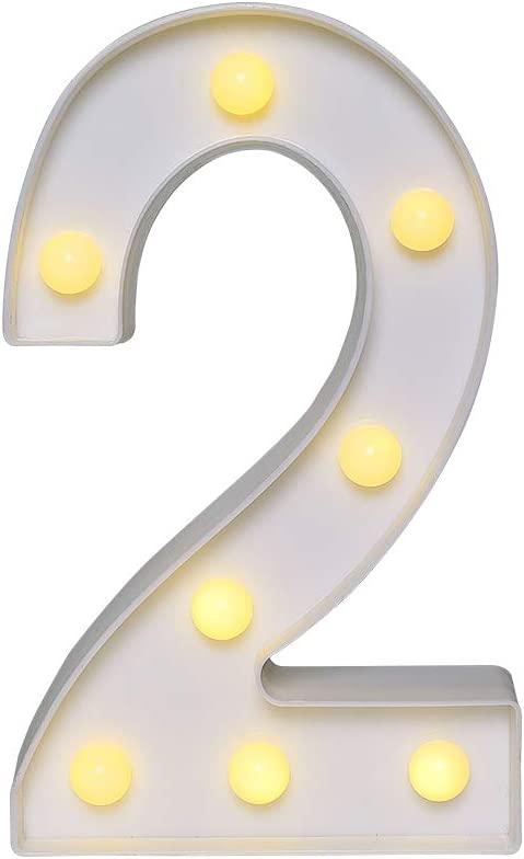 CYLAPEX Led Marquee Number Lights Sign, Warm White Led Number Lights Up Number Light, Battery Operated Night Lights for Confession Wedding Party Birthday Christmas Home Bar Decoration