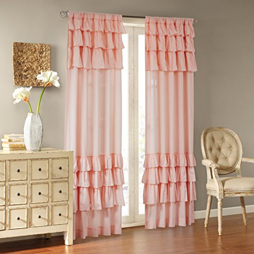 Madison Park Pink Curtains for Living Room, Cottage Country Rod Pocket Ruffle Curtains for Bedroom, Solid Anna Voile Window Curtains, 50X84, 1-Panel Pack ()
