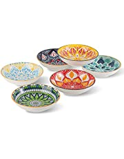 Small Bowls - Ice Cream Dessert Bowl 8.5 oz - Ceramic Bowl Set of 6 - Colorful Shallow Bowl for Side Dish   Snack   Appetizer - Microwave and Dishwasher Safe - 5.5 x 1.3 Inches