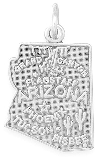Oxidized Sterling Silver Charm, State of Arizona, 7/8 inch Sterling Silver Arizona State Charm