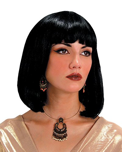 Summitfashions Cleopatra Egyptian Wig Theatre Costumes Accessory Black Medium Length Bangs]()