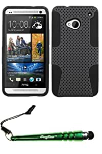 FoxyCase(TM) FREE stylus AND HTC One M7 Grey Black Astronoot Phone Protector Cover cas couverture