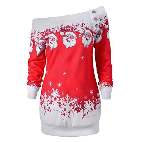 Shirt for Womens Long Blouse Merry Christmas Santa Snowflake Print Tops Long Sleeve