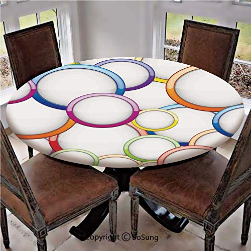Elastic Edged Polyester Fitted Table Cover,Abstract Chained Colorful Bubbles and Circles Round Patterns Contemporary Art Home Decor,Fits up 56
