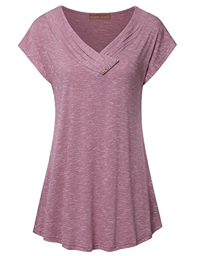 (Meow Meow Lace Women's Cap Sleeve V Neck Flare Tunic Top Blouse Button Trim A-Red)