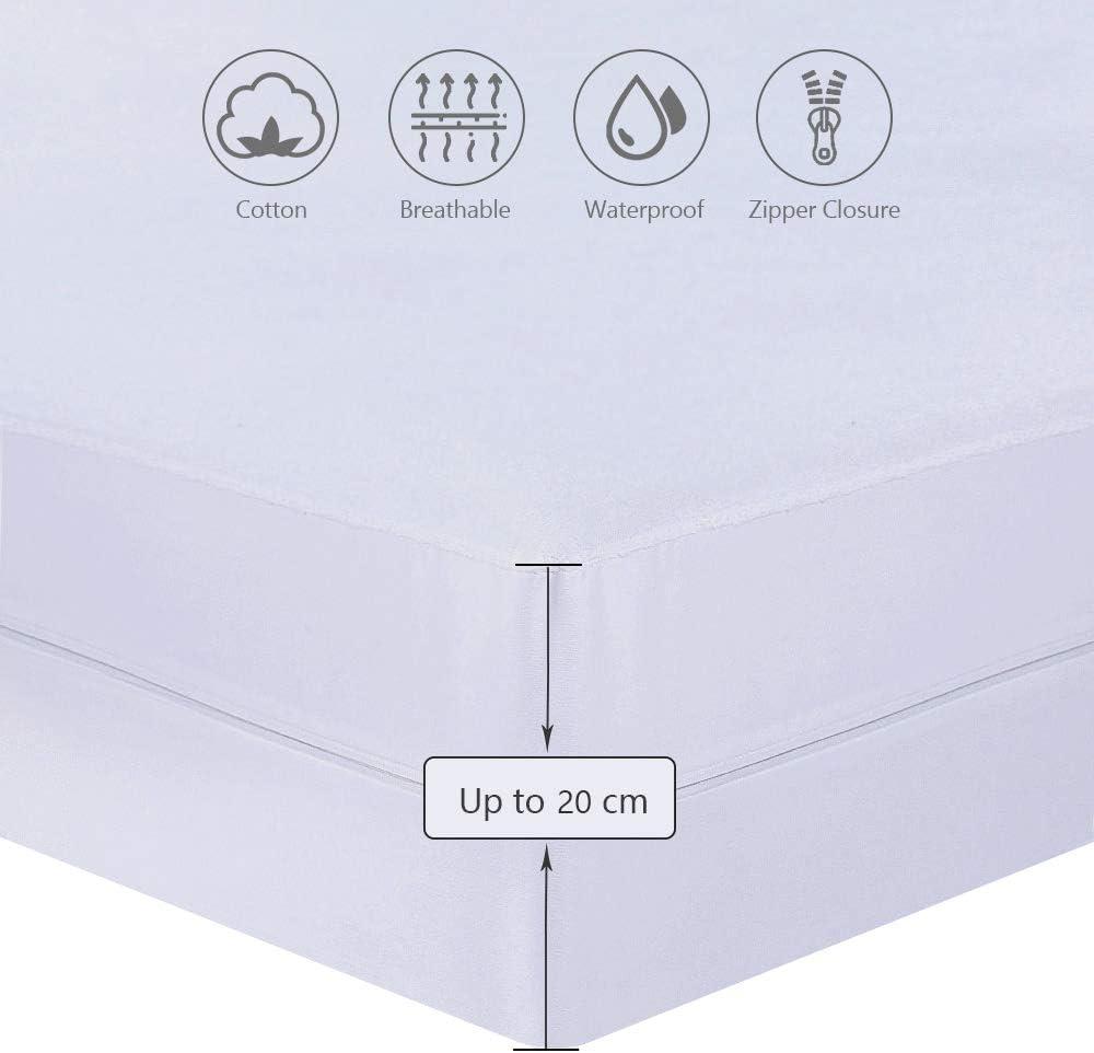 UMI Essentials Housse/de/Matelas//élastique imperm/éable,avec Fermeture /éclair 90x200+20cm Coton